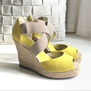 Gap chartreuse yellow espadrille sandals